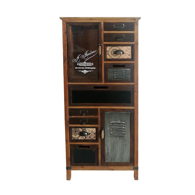Βιτρίνα/Συρταριέρα μεταλλική/ξύλινη καφέ 58x32x135cm Inart 3-50-102-0020