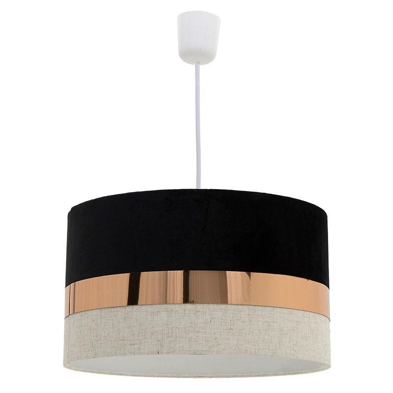 Φωτιστικό οροφής μονόφωτο κρεμαστό βελούδινο μαύρο εκρού 35x20cm Inart 3 10 741 0024