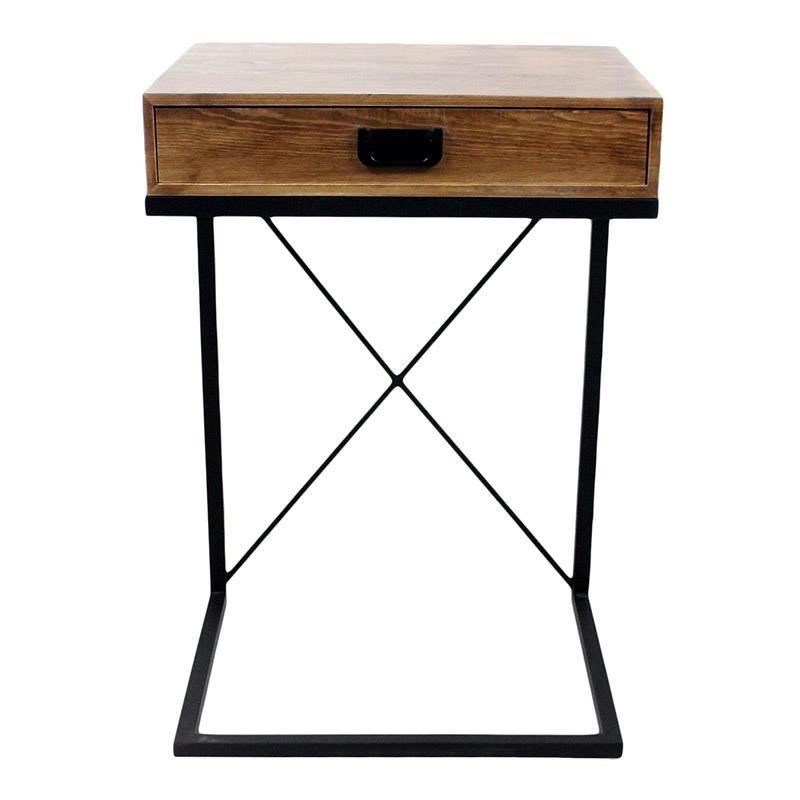 Τραπέζι βοηθητικό ξύλινο/μεταλλικό μαύρο/natural 45x35x66cm Inart 3-50-861-0069