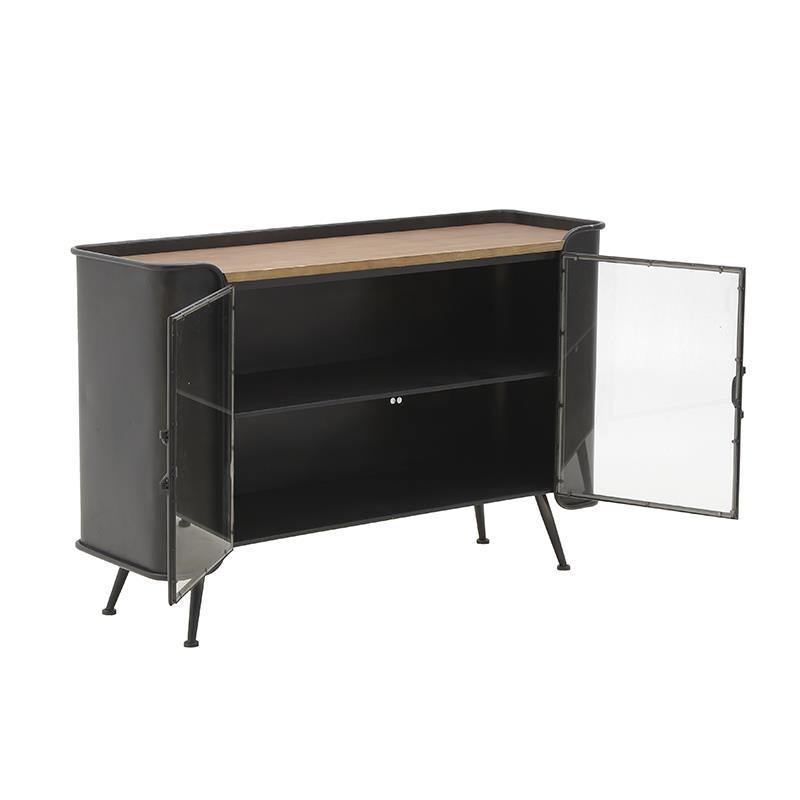 Ντουλάπι μεταλλικό/ξύλινο μαύρο/natural 120x38x79cm Inart 3-50-153-0007