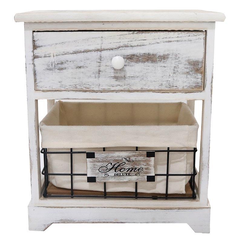 Συρταριέρα ξύλινη αντικέ λευκή 37x27x42cm Inart 3-50-094-0001