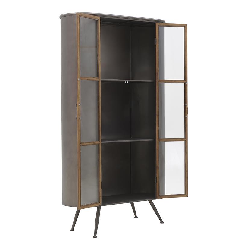 Βιτρίνα μεταλλική/ξύλινη αντικέ/χρυσή 90x38x160cm Inart 3-50-153-0009