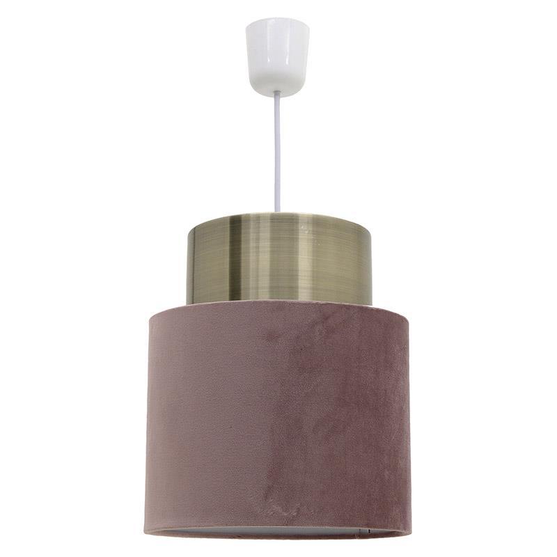 Φωτιστικό οροφής μονόφωτο κρεμαστό βελούδινο ροζ 25x29cm Inart 3 10 741 0029 .:: energolab.gr