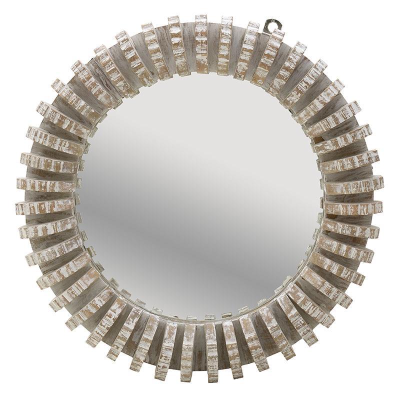 Καθρέπτης τοίχου ξύλινος αντικέ/γκρι 76x10cm Inart 3-95-171-0018