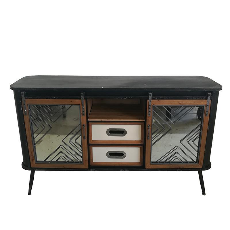 Βιτρίνα μεταλλική/ξύλινη μαύρη/natural 70x34x152cm Inart 3-50-102-0019