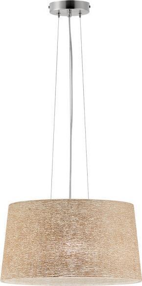 Φωτιστικό οροφής κρεμαστό μονόφωτο Callas γυάλινο σε ανάγλυφο χειροποίητο decor μπεζ με νίκελ ματ ανάρτηση 40x110cm Viokef 30905