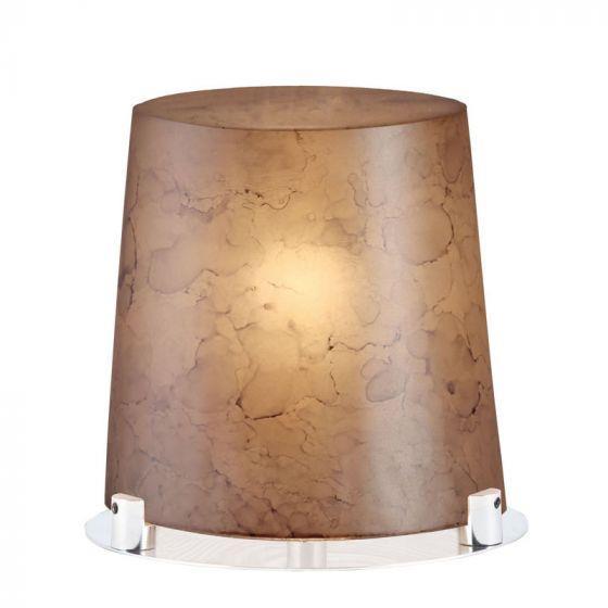Φωτιστικό επιτραπέζιο μονόφωτο Carmen γυάλινο σε χειροποίητο decor καφέ με νίκελ ματ βάση 20x20cm Viokef 3097002