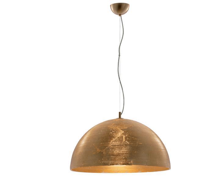 Φωτιστικό οροφής κρεμαστό μονόφωτο Dome γυάλινο σε χειροποίητο decor χρυσό με χρυσή ματ ανάρτηση 50x110cm Viokef 3058700