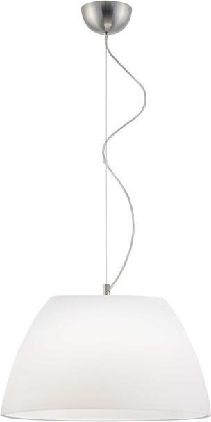 Φωτιστικό οροφής κρεμαστό μονόφωτο Luigi γυάλινο λευκό με νίκελ ματ ανάρτηση 35x110cm Viokef 3068200