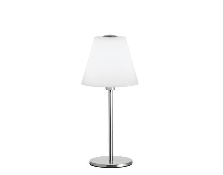 Φωτιστικό επιτραπέζιο μονόφωτο Luigi γυάλινο λευκό με νίκελ ματ βάση 18x41cm Viokef 3055400