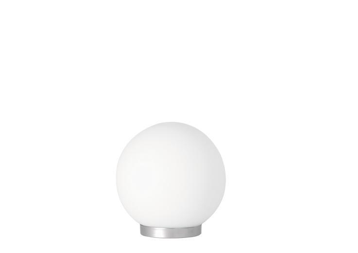 Φωτιστικό επιτραπέζιο μονόφωτο Luna γυάλινο λευκό με νίκελ ματ βάση 20x22cm Viokef 380000