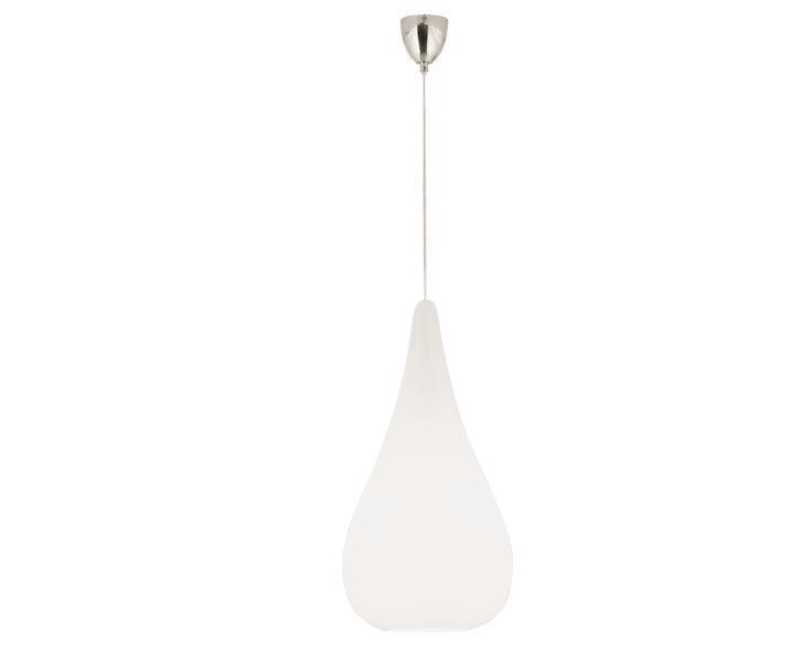 Φωτιστικό οροφής κρεμαστό μονόφωτο Drop γυάλινο λευκό με ανάρτηση χρωμίου 16x140cm Viokef 4031000