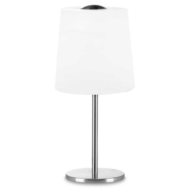 Φωτιστικό επιτραπέζιο μονόφωτο Snow γυάλινο λευκό με νίκελ ματ βάση 18x41cm Viokef 3057500