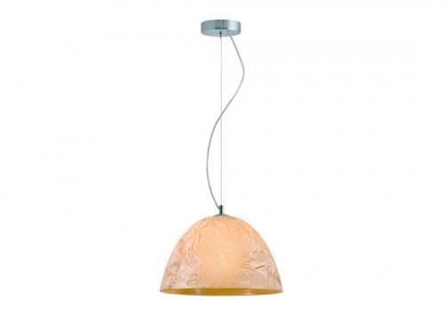 Φωτιστικό οροφής κρεμαστό μονόφωτο Factory γυάλινο σε χειροποίητο decor μελί με νικέλ ματ ανάρτηση 35x110cm Viokef 3096802