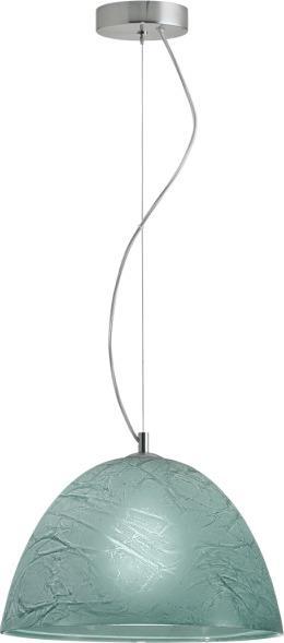 Φωτιστικό οροφής κρεμαστό μονόφωτο Factory γυάλινο σε χειροποίητο decor πετρόλ με νικέλ ματ ανάρτηση 35x110cm Viokef 3096803