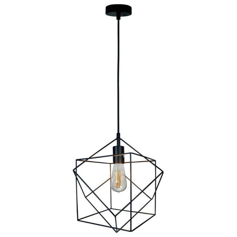 Φωτιστικό οροφής κρεμαστό μονόφωτο Quadro μεταλλικό μαύρο 33x120cm Viokef 4193400