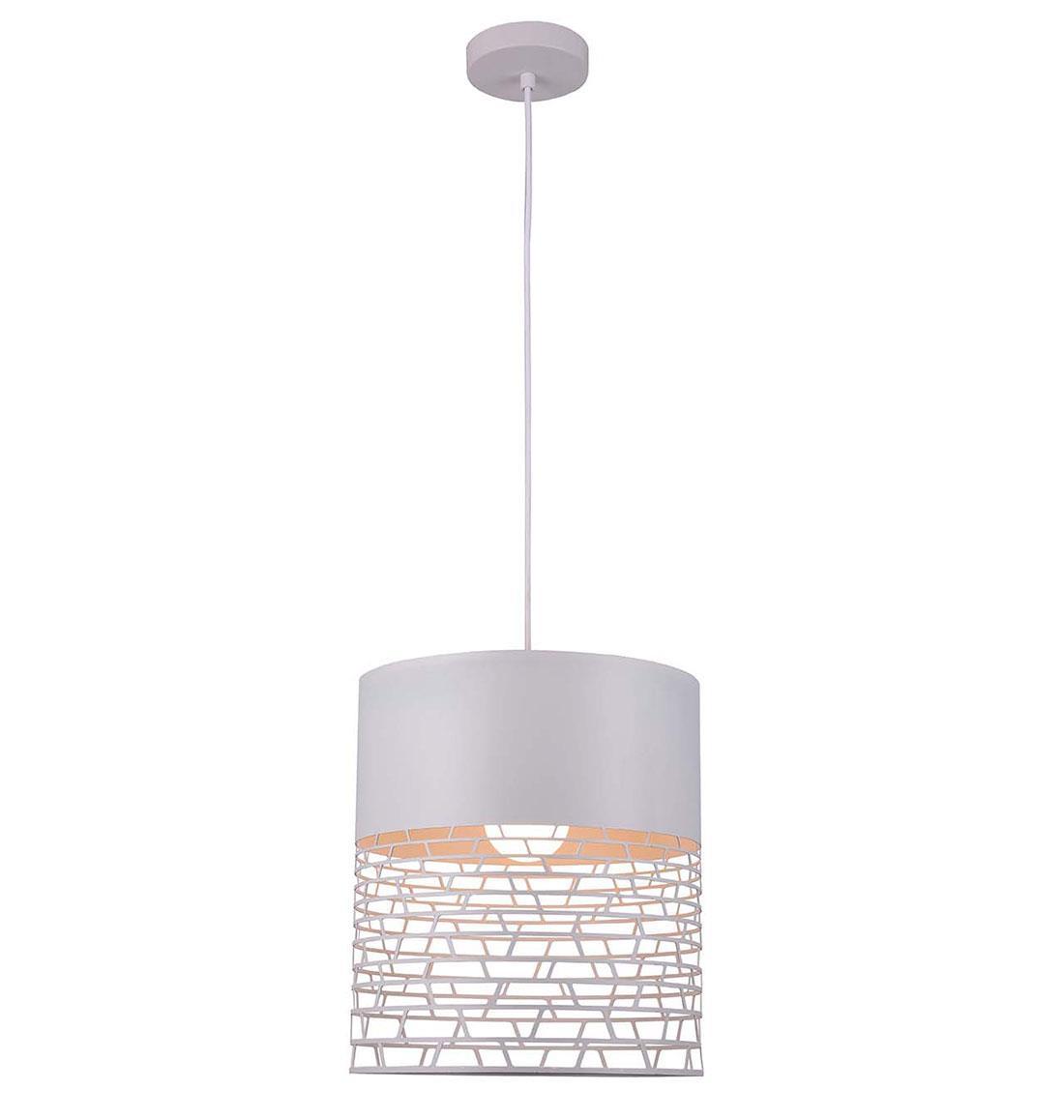 Φωτιστικό οροφής κρεμαστό μονόφωτο Feretti μεταλλικό λευκό 32x120cm Viokef 4200700