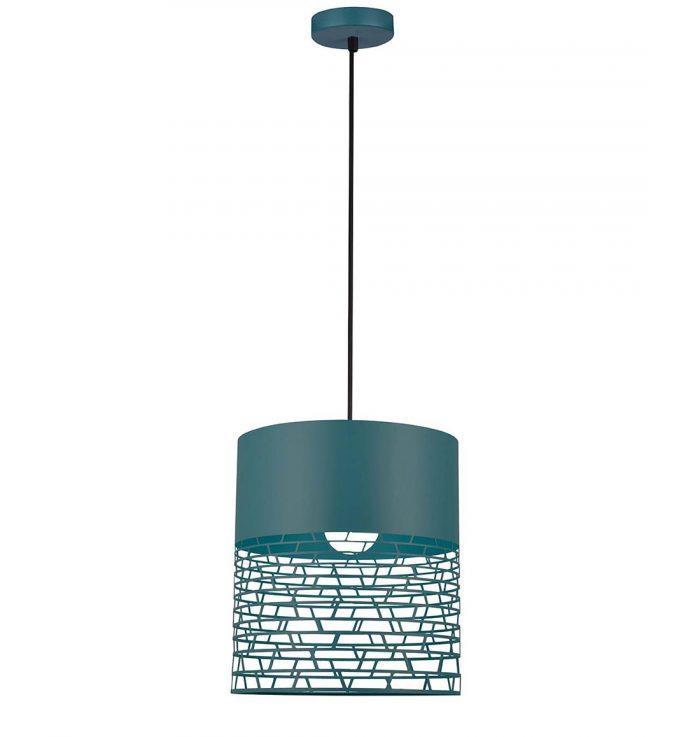Φωτιστικό οροφής κρεμαστό μονόφωτο Feretti μεταλλικό πετρόλ 32x120cm Viokef 4200701