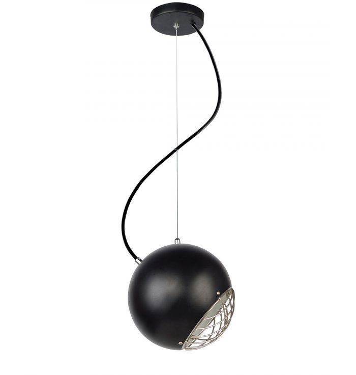Φωτιστικό οροφής κρεμαστό μονόφωτο Belamo μεταλλικό μαύρο με νίκελ ματ λεπτομέρεια 20x120cm Viokef 4197001