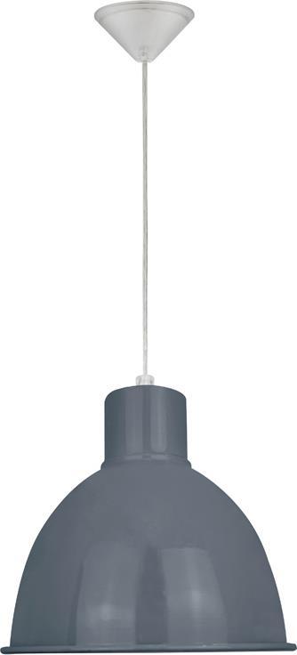 Φωτιστικό οροφής κρεμαστό μονόφωτο Yoko μεταλλικό γκρι με λευκή ανάρτηση 21x110cm Viokef 4166900