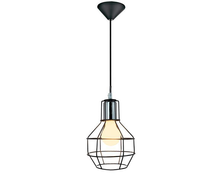 Φωτιστικό οροφής κρεμαστό μονόφωτο Plex μεταλλικό μαύρο 15x100cm Viokef 4115100