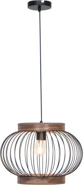 Φωτιστικό οροφής κρεμαστό μονόφωτο Darling μεταλλικό μαύρο με ξύλινη λεπτομέρεια 45x120cm Viokef 4212000