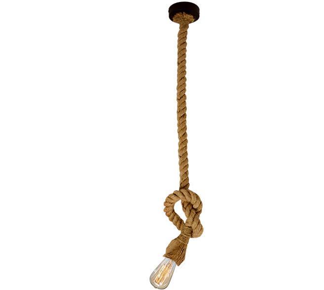 Φωτιστικό οροφής κρεμαστό μονόφωτο Rope με σχοινί και μαύρη ανάρτηση 10x120cm Viokef 4134900