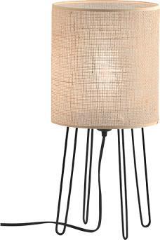 Φωτιστικό επιτραπέζιο μονόφωτο Senso με λινάτσα και ξύλινη βάση 18x42cm Viokef 4216400