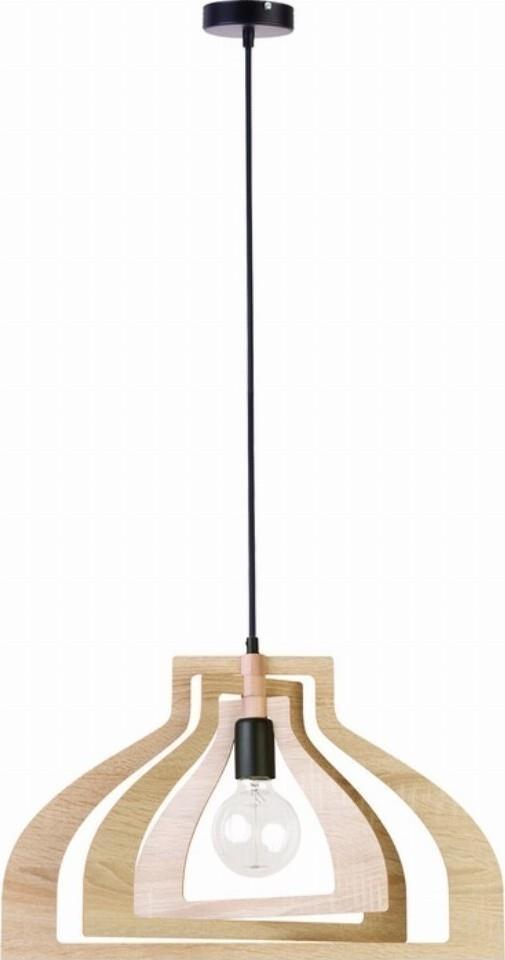 Φωτιστικό οροφής κρεμαστό μονόφωτο Roxie ξύλινο natural με μαύρη ανάρτηση 52.5x100cm Viokef 4184400