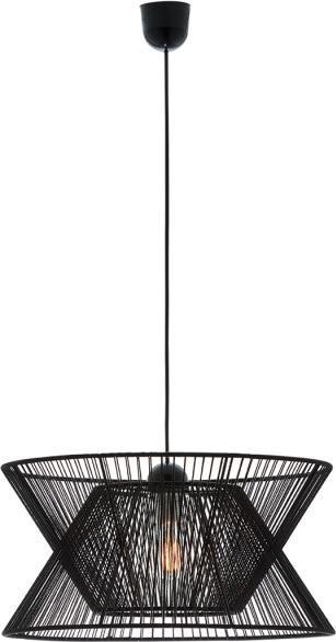 Φωτιστικό οροφής κρεμαστό μονόφωτο Argela με σχοινί μαύρο και μαύρη ανάρτηση 45x120cm Viokef 4203700