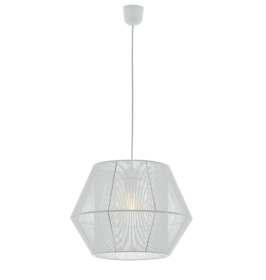 Φωτιστικό οροφής κρεμαστό μονόφωτο Zaira με κορδόνι λευκό 40x135cm Viokef 4198100