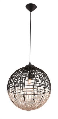 Φωτιστικό οροφής κρεμαστό μονόφωτο Omicron σε ξύλινο πλεκτό καλάθι natural/μαύρο 30x110cm Viokef 4211700