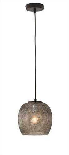Φωτιστικό οροφής κρεμαστό μονόφωτο Rain γυάλινο φυμέ με μαύρη ανάρτηση 19x120cm Viokef 3096400