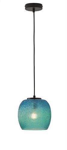 Φωτιστικό οροφής κρεμαστό μονόφωτο Rain γυάλινο μπλε με μαύρη ανάρτηση 19x120cm Viokef 3096402