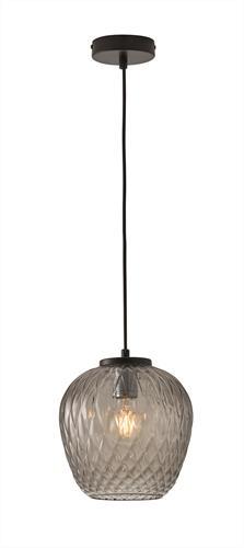 Φωτιστικό οροφής κρεμαστό μονόφωτο Ermina γυάλινο φυμέ με μαύρη ανάρτηση 20x120cm Viokef 3096500