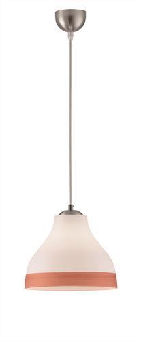 Φωτιστικό οροφής κρεμαστό μονόφωτο Melody γυάλινο σε χειροποίητο decor λευκό με χάλκινη λεπτομέρεια και νίκελ ματ ανάρτηση 25×11