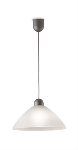 Φωτιστικό οροφής κρεμαστό μονόφωτο Tzeli γυάλινο λευκό με πλαστική ασημί ανάρτηση 30x90cm Viokef 3981800