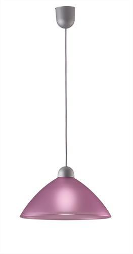 Φωτιστικό οροφής κρεμαστό μονόφωτο Tzeli γυάλινο μωβ με πλαστική ασημί ανάρτηση 30x90cm Viokef 3981801