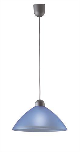 Φωτιστικό οροφής κρεμαστό μονόφωτο Tzeli γυάλινο μπλε με πλαστική ασημί ανάρτηση 30x90cm Viokef 3981803
