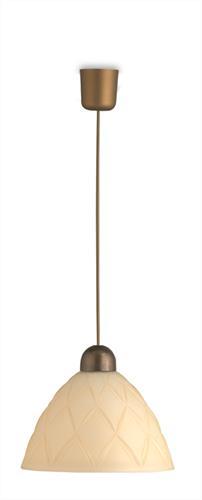 Φωτιστικό οροφής κρεμαστό μονόφωτο Rombina γυάλινο μελί με πλαστική μπρονζέ ανάρτηση 25x100cm Viokef 3029201