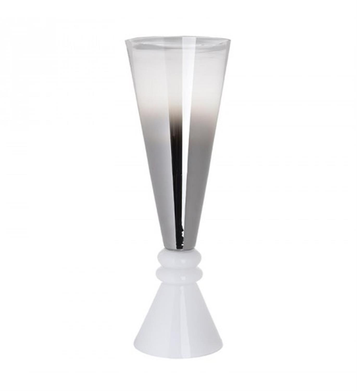 Βάζο διακοσμητικό γυάλινο λευκό/χάλκινο 21x21x60cm Inart 3-70-639-0052
