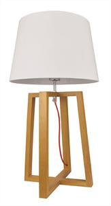 Φωτιστικό επιτραπέζιο μονόφωτο City με πλαστικοποιημένο υφασμάτινο λευκό καπέλο και ξύλινη βάση 35x63cm Viokef 4119400
