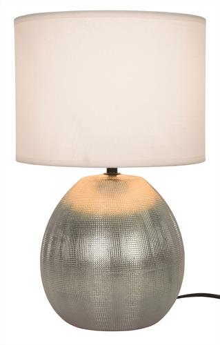 Φωτιστικό επιτραπέζιο μονόφωτο Rea κεραμικό ασημί με υφασμάτινο λευκό καπέλο 22x36cm Viokef 4211500