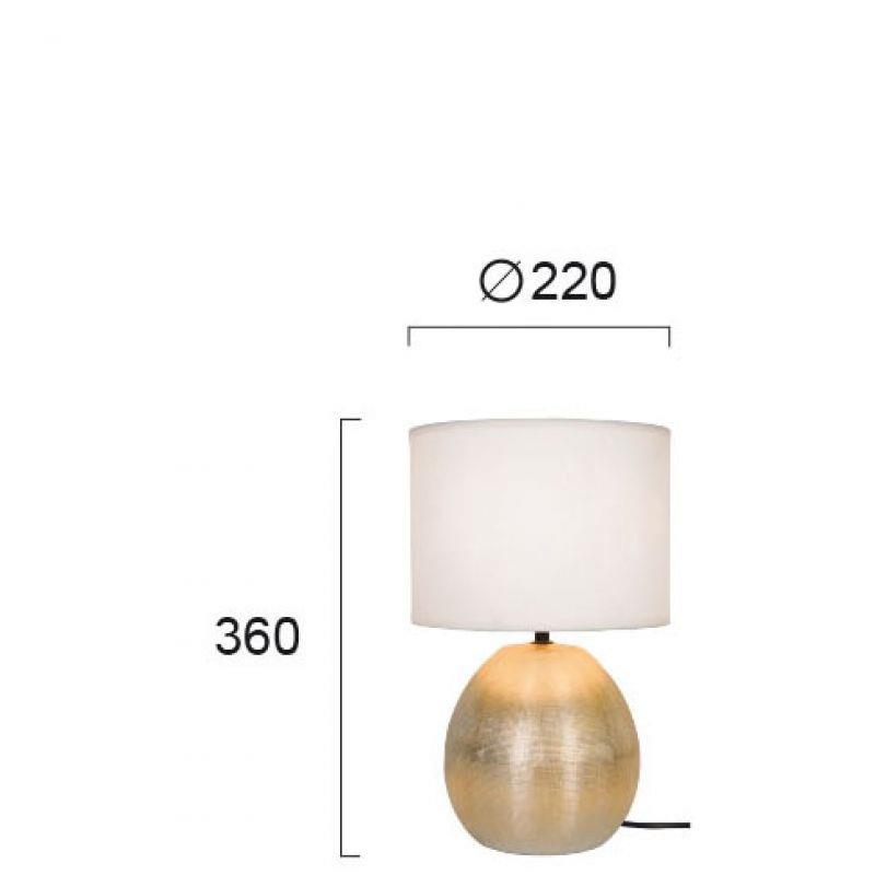 Φωτιστικό επιτραπέζιο μονόφωτο Rea κεραμικό χρυσό με υφασμάτινο λευκό καπέλο 22x36cm Viokef 4211501