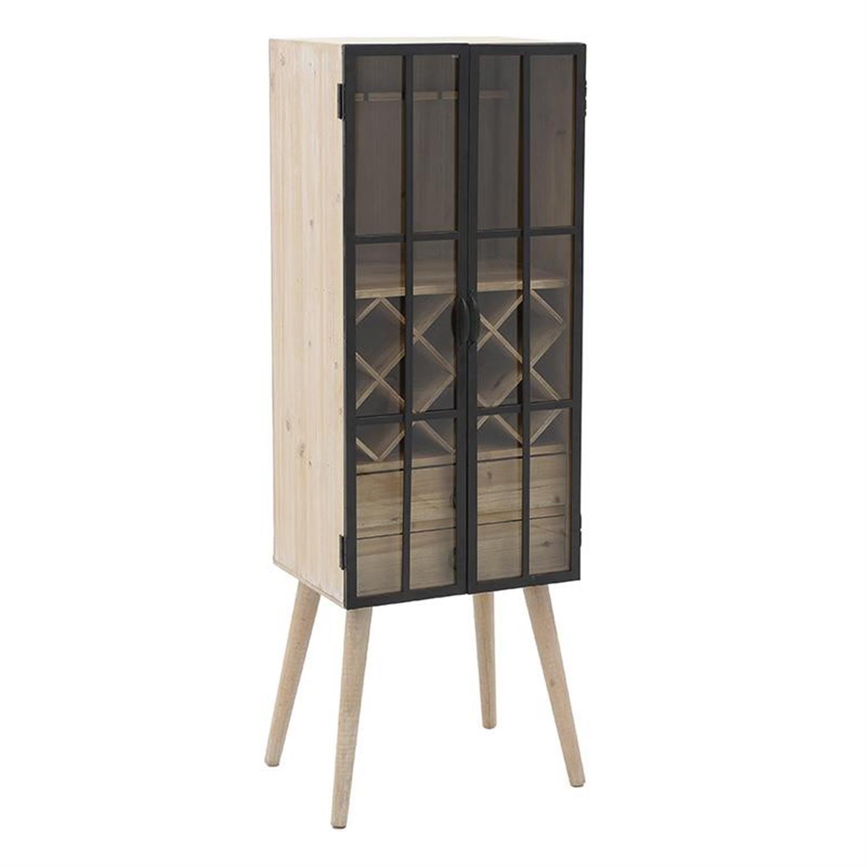 Βιτρίνα με πόδια ξύλινο/μεταλλικό εκρού/μαύρη 48x37x140cm Inart 3-50-293-0045