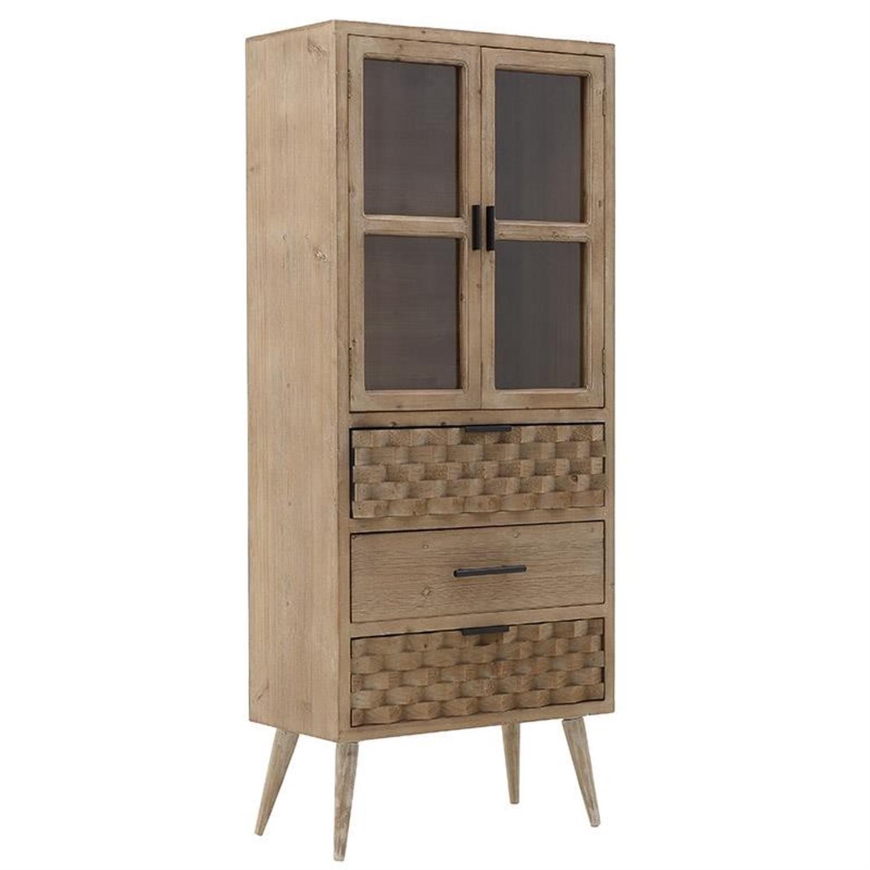 Βιτρίνα ξύλινη natural 60x30x143cm Inart 3-50-293-0051