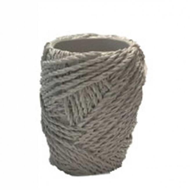 Θήκη για οδοντόβουρτσες κουβάρι polyester γκρι 7x7x10cm Marva 812008