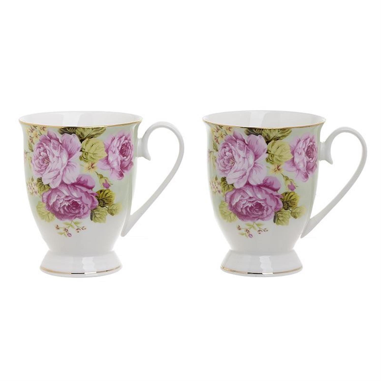 S/2 Κούπα πορσελάνινη λουλούδια 320 ml Inart 3-60-957-0020