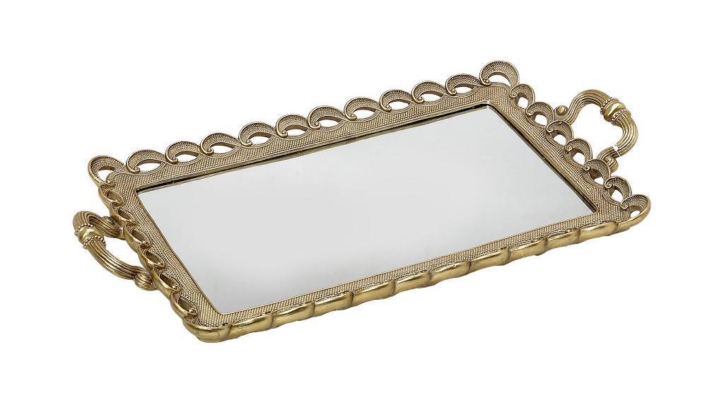 Δίσκος διακοσμητικός ορθογώνιος polyresin χρυσό με καθρέπτη 50.5×26.5×4.5cm Espiel LED102