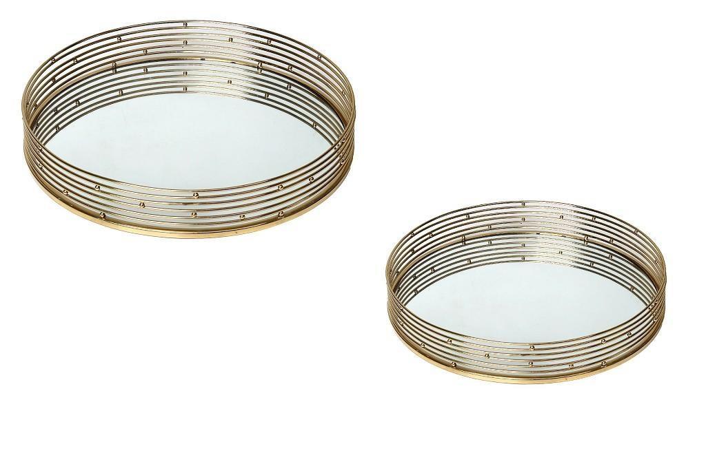 S/2 Δίσκος διακοσμητικός στρόγγυλος μεταλλικός χρυσό με καθρέπτη 30-40cm Espiel NID105